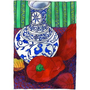 still_life_with_peppers_and_patterns_tangerinemeg