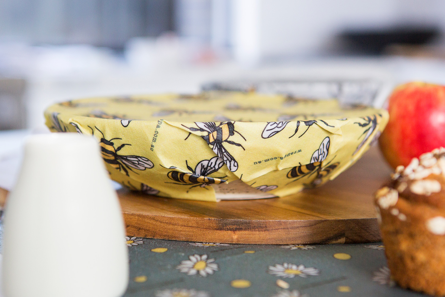 Wrappa Reusable Beeswax wrap and vegan wrap Jumbo Busy Bees covering bowl