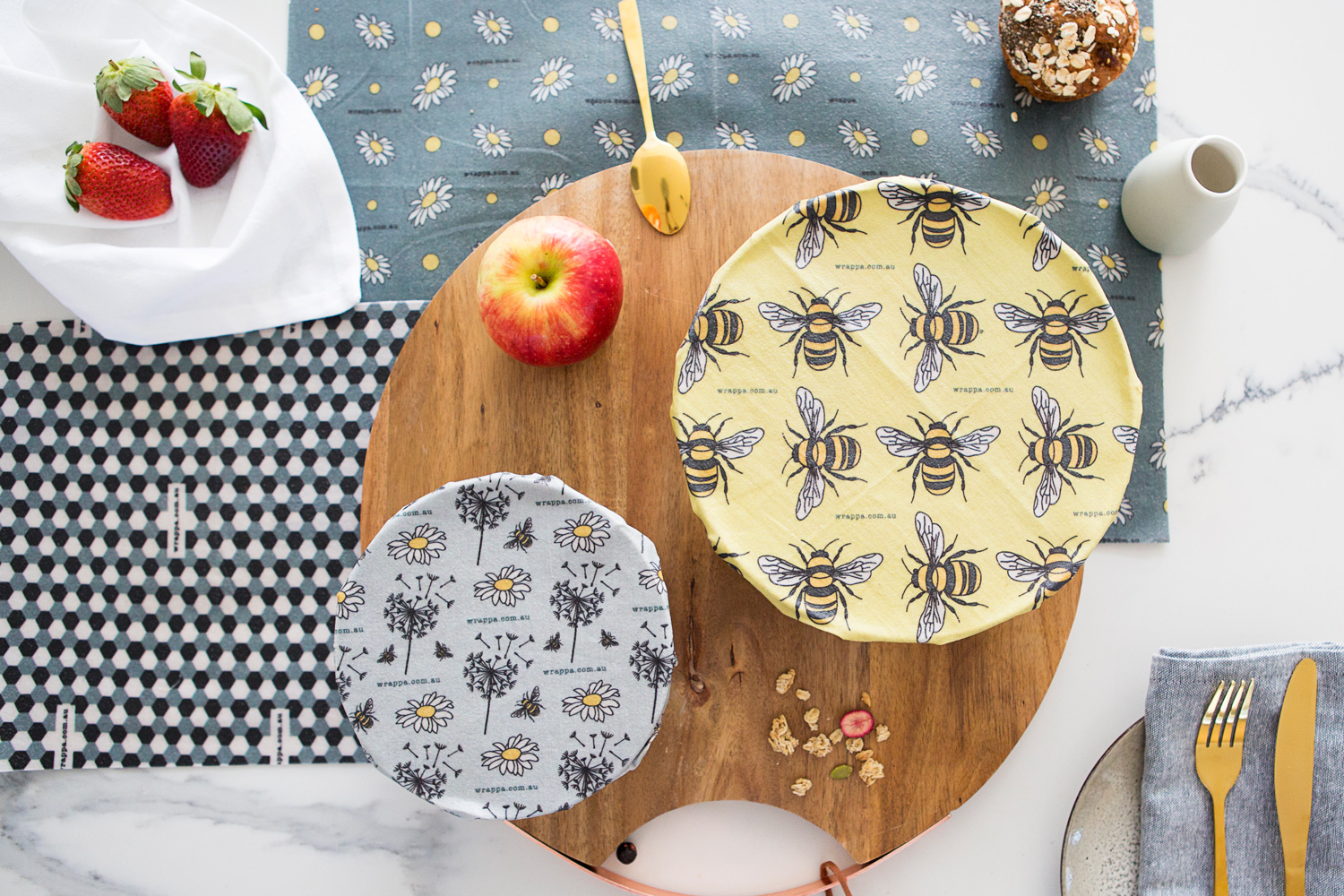 Wrappa Reusable Beeswax wrap and vegan wrap Jumbo Busy Bees covering 2 bowls