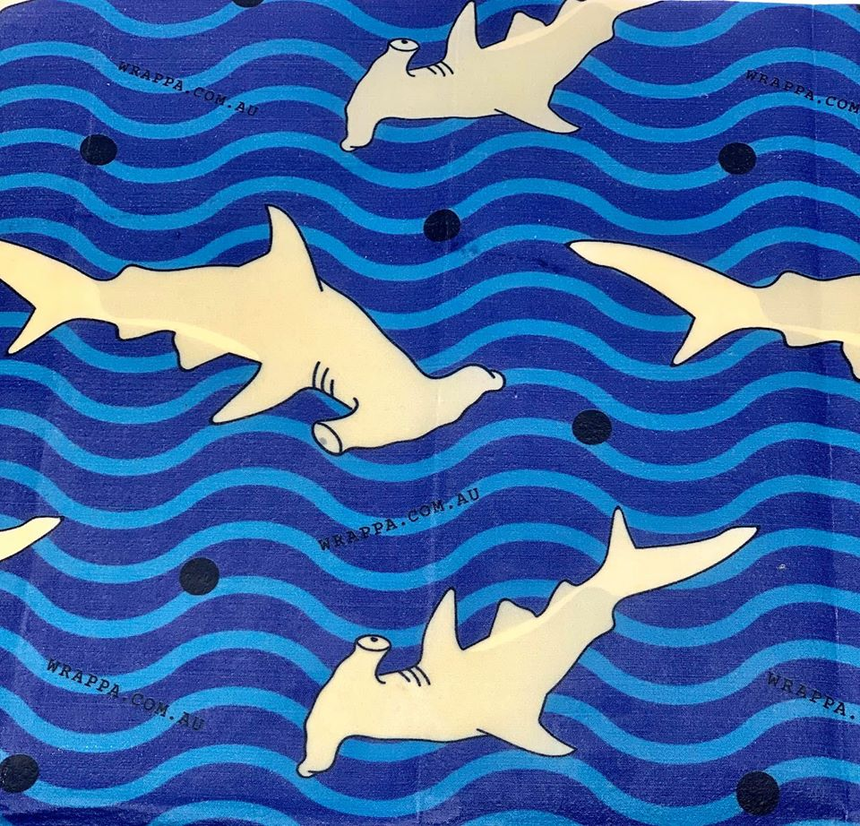 Wrappa Reusable Beeswax wrap Hammerhead Snack pack print